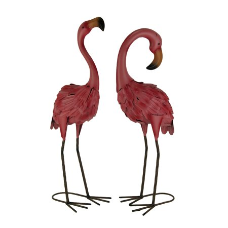 Set of 2 Decorative Metal Pink Flamingo Yard Statues for $<!---->