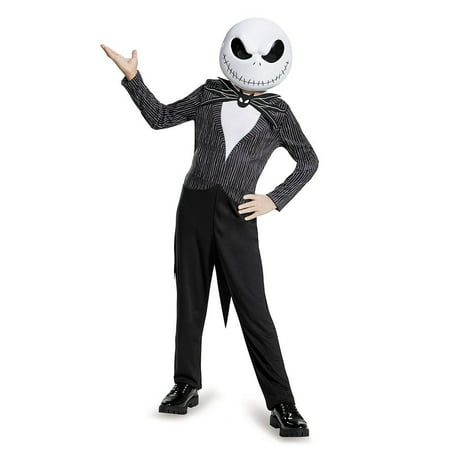 Jack Skellington Child Classic Nightmare Before Christmas Disney Costume, Large/10-12, Product Includes: Jumpsuit with attached coat tails, detachable bow and half mask By Disguise (Jak Costume)