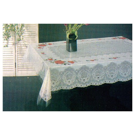 Tablecloth, Floral, Vinyl Printed 54x54 Inches Square