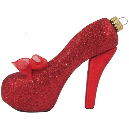 Christmas By Krebs Red High Heeled Shoe Holiday Ornament Glass - Shoe Ornaments