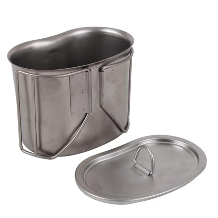 New G.I. Type Stainless Steel Canteen Cup with Lid, **Military