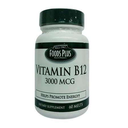 Vitamin B-12 3000 Mcg Quick Melt Tablets By Food Plus - 60 Ea