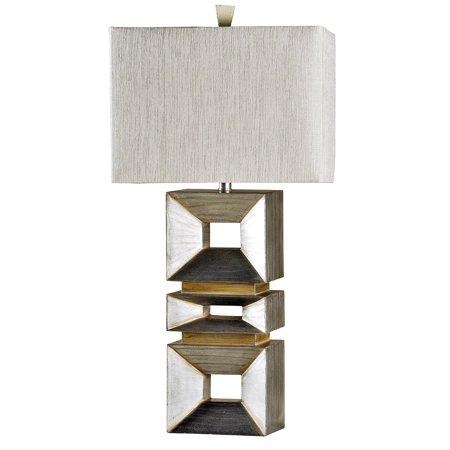 Taupe Rectangular Table Lamp (Contemporary Table Lamp - Palladium Silver Finish - Taupe Hardback Fabric Shade)