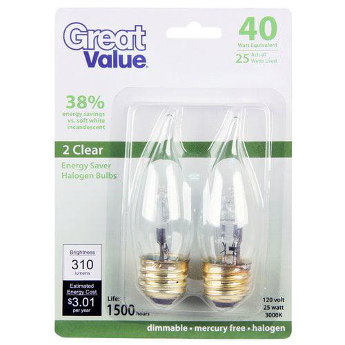 Great Value Gv 25w Es Halo Cl Fl Med Base 2pk 40w Eq