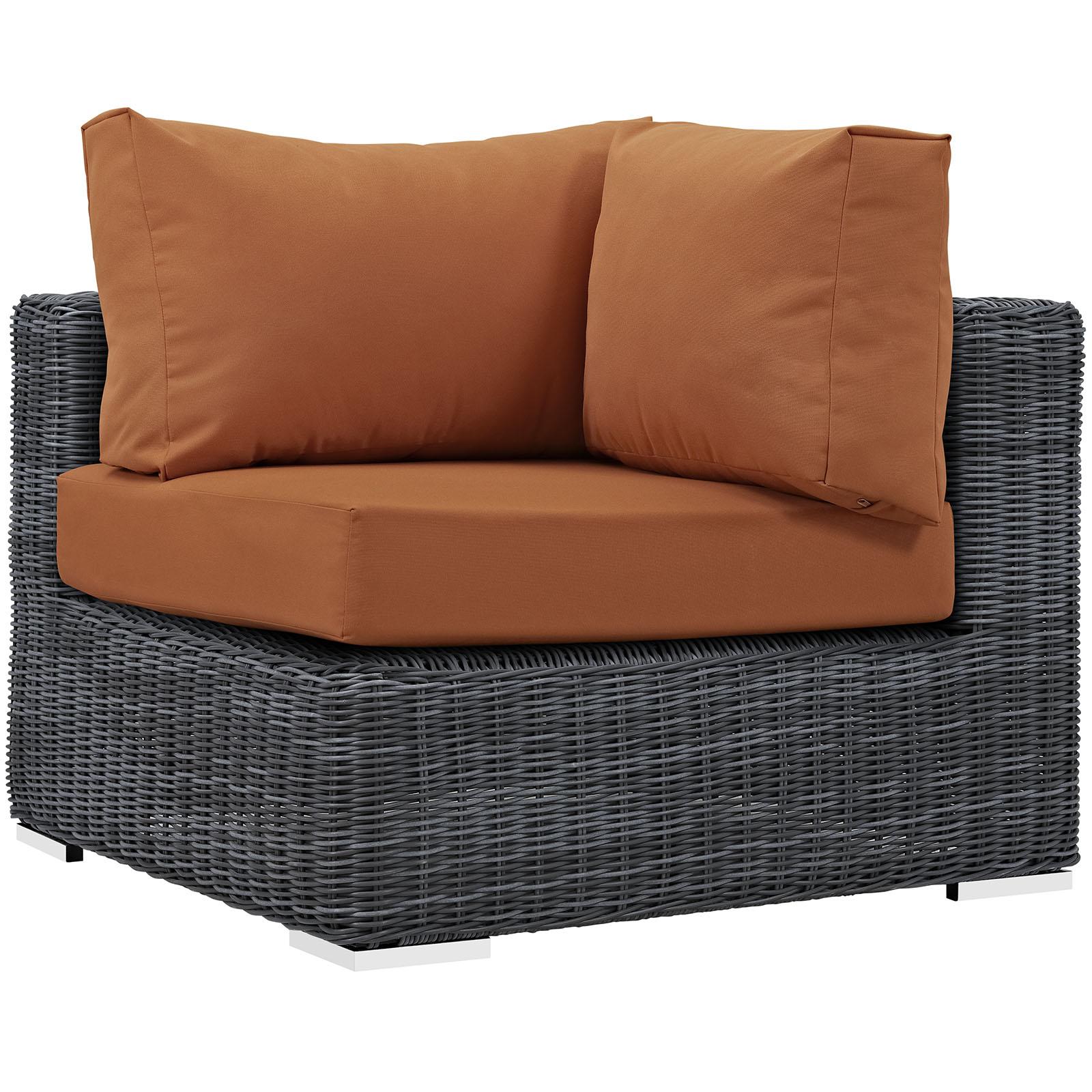 Modern Contemporary Urban Design Outdoor Patio Balcony Corner Lounge Chair, Orange, Rattan
