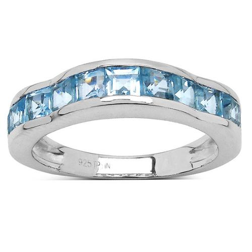 Olivia Leone Sterling Silver 2 1/4ct Blue Topaz Ring Size-8, Blue