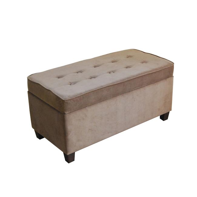 Kinfine N4538-B065 Mocha Micro-Suede Storage Bench by