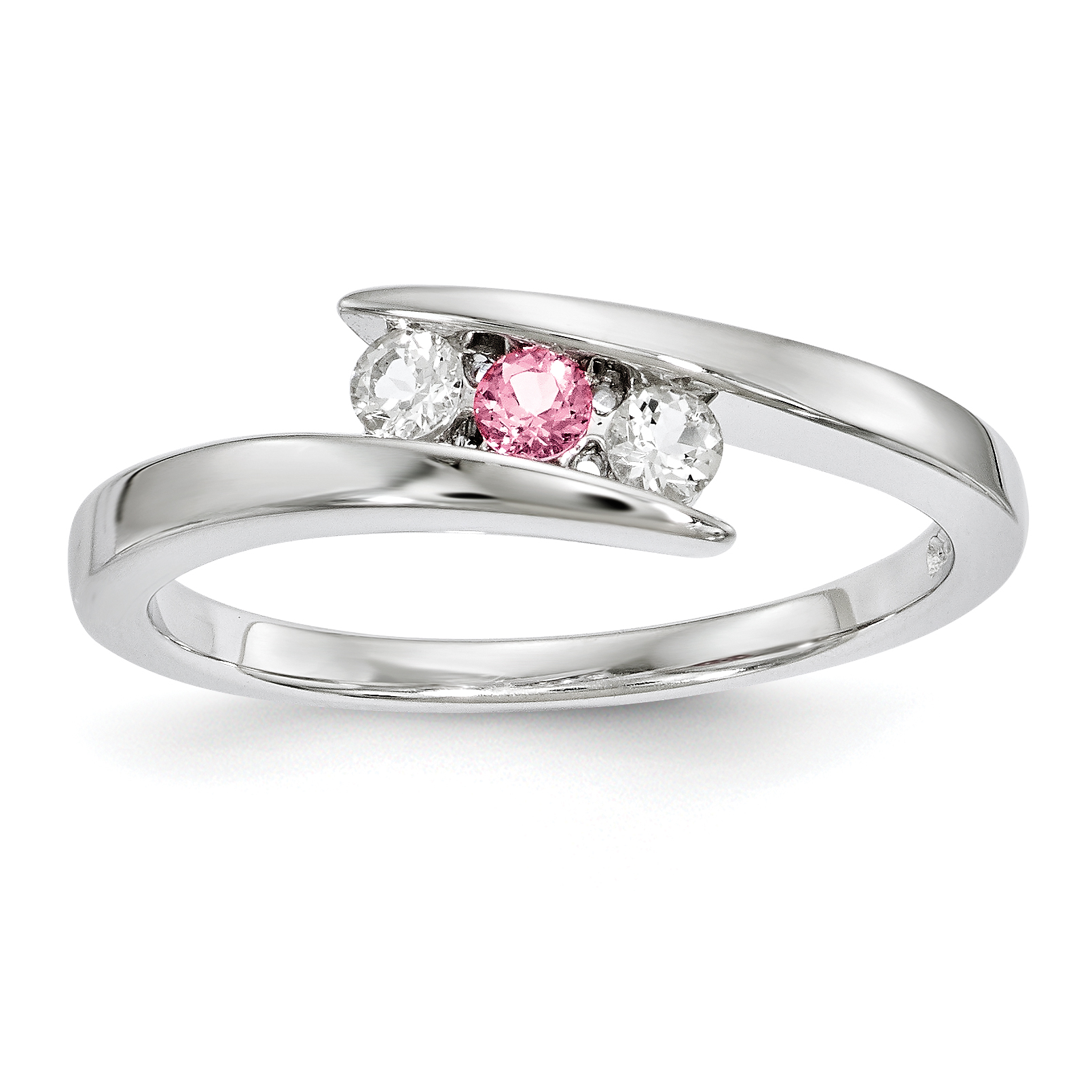 Sterling Silver Clear & Pink Swarovski Topaz Circle of Strength Ring