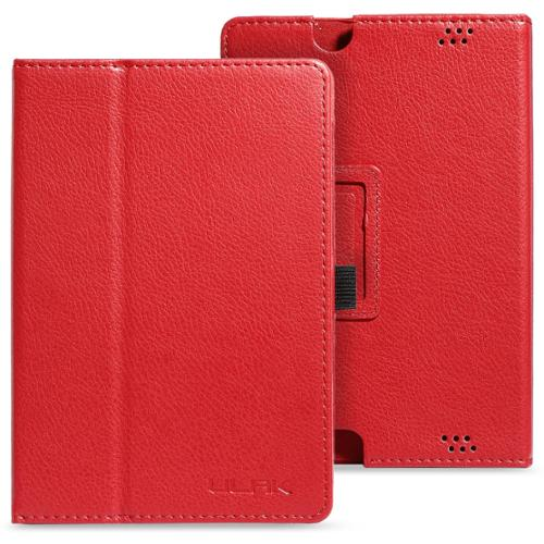 ULAK PU Leather Folio Stand Case Cover for Amazon New Kindle Fire HD 7 Inch  - 2013 Released (Previous Generation - 3rd) with Auto Sleep/Wake Feature for Valentine's Day(Red)