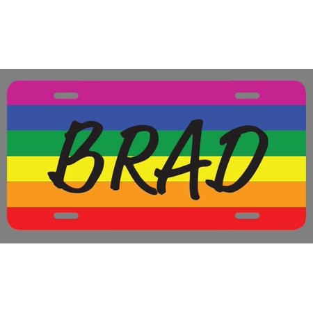 Brad Name Pride Flag Style License Plate Tag Vanity Novelty Metal | UV Printed Metal | 6-Inches By 12-Inches | Car Truck RV Trailer Wall Shop Man Cave | NP2246