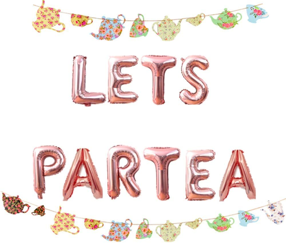 Tea party Girls night. Alice in wonderland party Tea for two Two year old balloons 16 it/'s time to partea balloonsbanner Kids party