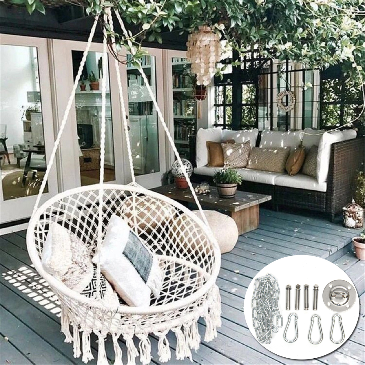 Hanging Hammock Chair Seat Mesh Woven Rope Macrame Wooden Bar Chair Swing Outdoor Home Garden Patio + Install Tool Home Decor Christmas Gift