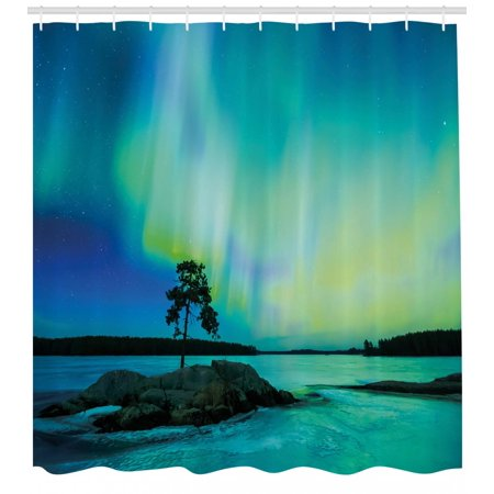 (Aurora Borealis Shower Curtain, Single Tree over Rocky Stone by River Borealis Earth Beauty Image, Fabric Bathroom Set with Hooks, Teal Blue Lime Green, by Ambesonne)
