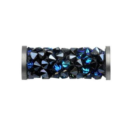 Bermuda Blue Swarovski Crystal Cube (Swarovski Crystal, #5950 Fine Rocks Tube Bead 15mm, 1 Piece, Bermuda Blue / Stainless Steel)