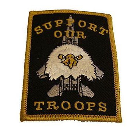 SUPPORT OUR TROOPS W/ JET AND AMERICAN EAGLE PATCH US PRIDE MILITARY