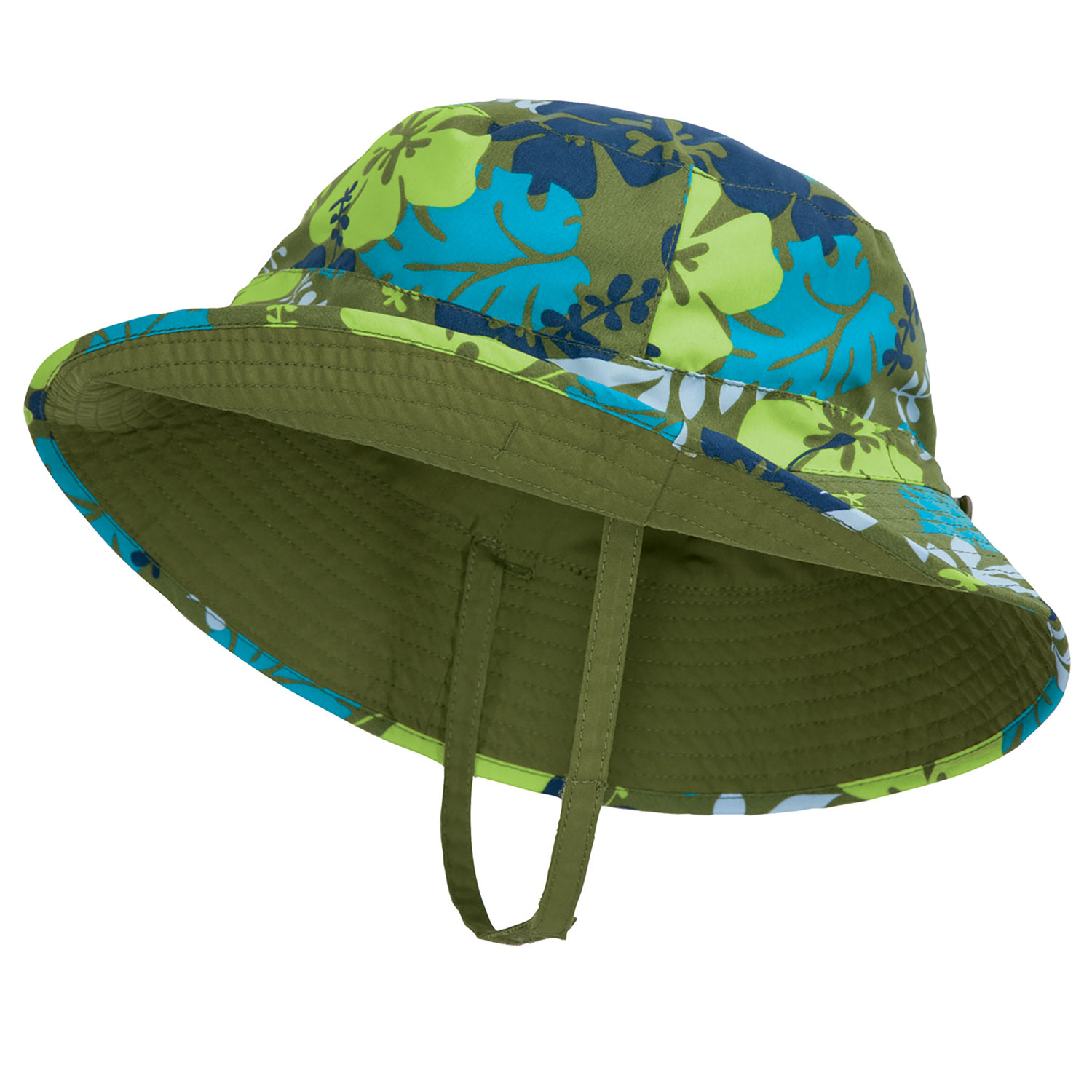 Sun Smarties Aloha Adjustable and Reversible Baby Boy Sun Hat - Hawaiian Print Reverses to a Solid Olive Green Brim Hat  - X-Small, 6-12 Months