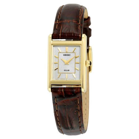 Solar Champagne Dial Brown Leather Ladies Watch SUP252