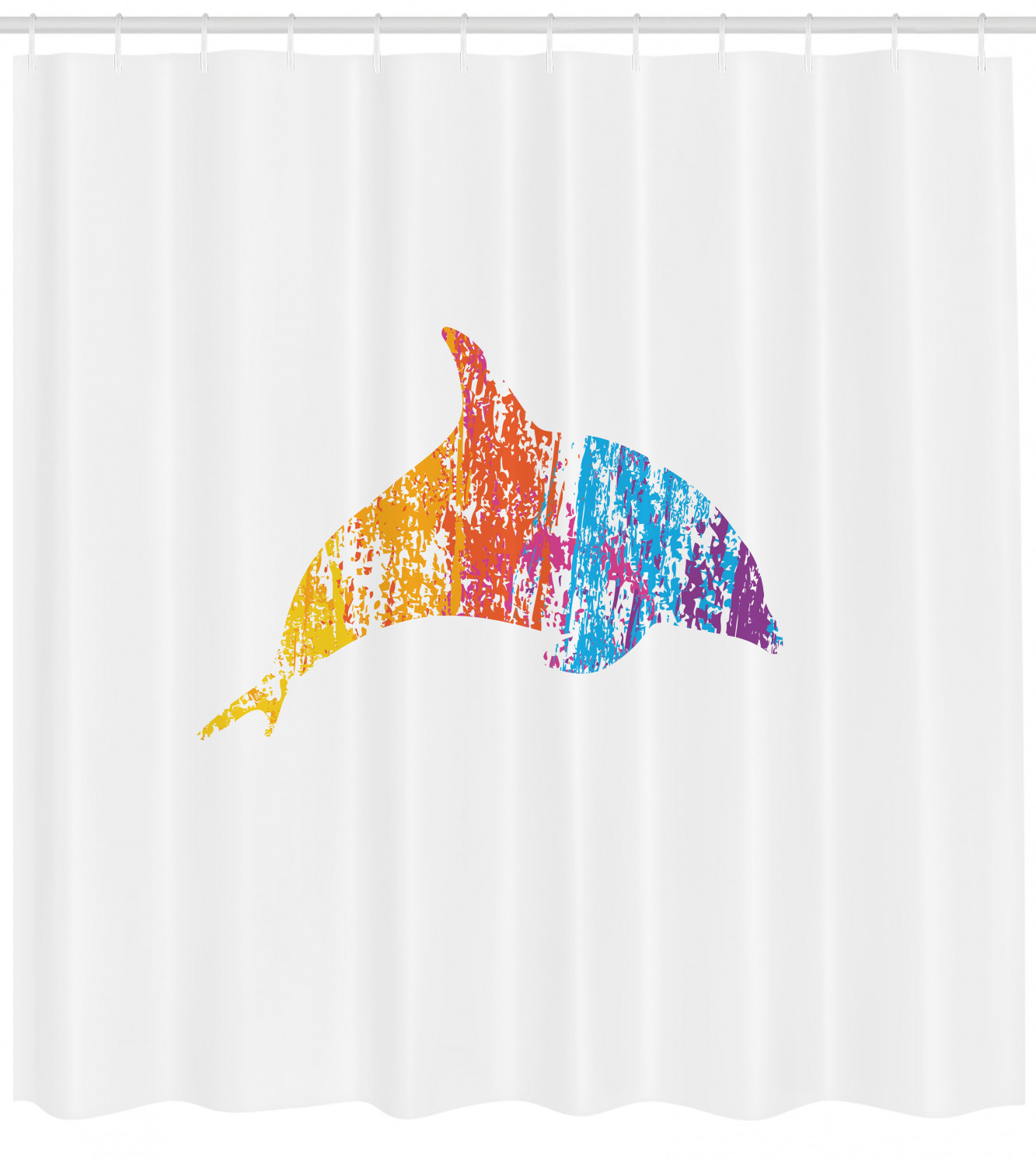 Dolphin Shower Curtain Multicolor Ocean Inhabitant Vivid Creature Nautical Themes Animal Fun Illustration Fabric Bathroom Set With Hooks 69w X 70l