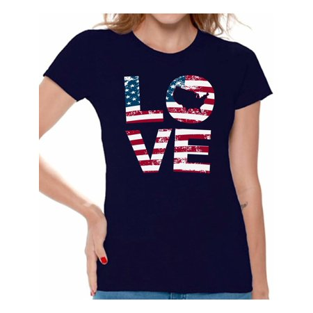 Love Scale (Awkward Styles Women's Love American Flag Graphic T-shirt Tops USA Flag Stars and Stripes Patriotic Gift)