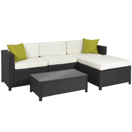 Best Choice Products 5-Piece Modular Wicker Patio Sectional Set w/ Glass Tabletop, Removable Cushion Covers -