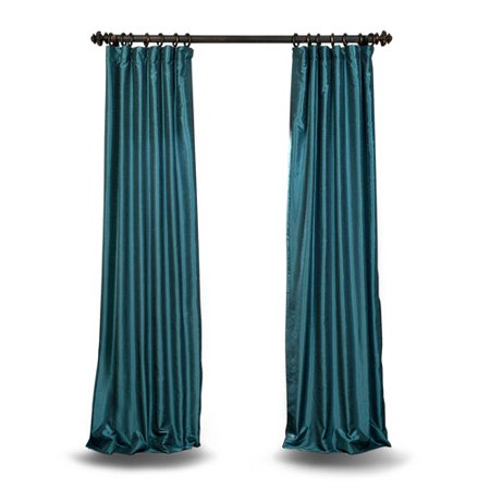 Teal 96 x 50 In. Faux Dupioni Silk Single Panel - Dupioni Silk Lined Panel