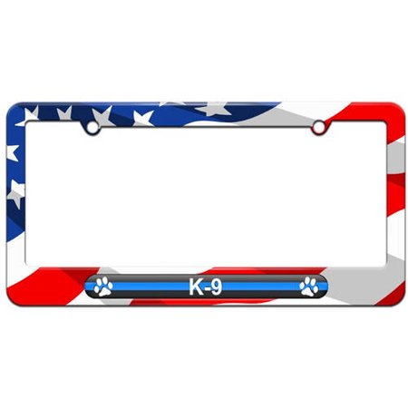 K9 License Plate - Thin Blue Line K-9 Unit Paw Prints, Police License Plate Tag Frame, Multiple Colors
