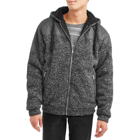 Nylon Cavesson - Men's Full Zip Sweater Fleece Hood Jacket with Nylon Piecing, up to Size 5XL