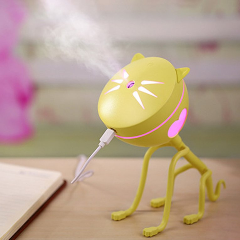 Yellow Mini Cat Shape Usb Air Humidifier Diffuser For Car Led Light Purifier Atomizer