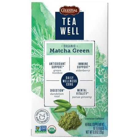 TeaWell Organic Matcha Green Wellness Tea Bags, 16 Count Box