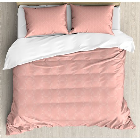 Peach Duvet Cover Set Soft Colored Background With Crowns And