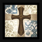 Four Panel Abstract Pattern Damask Floral Cross Religious Painting Blue & Tan, Framed Canvas Art by Pied Piper Creative