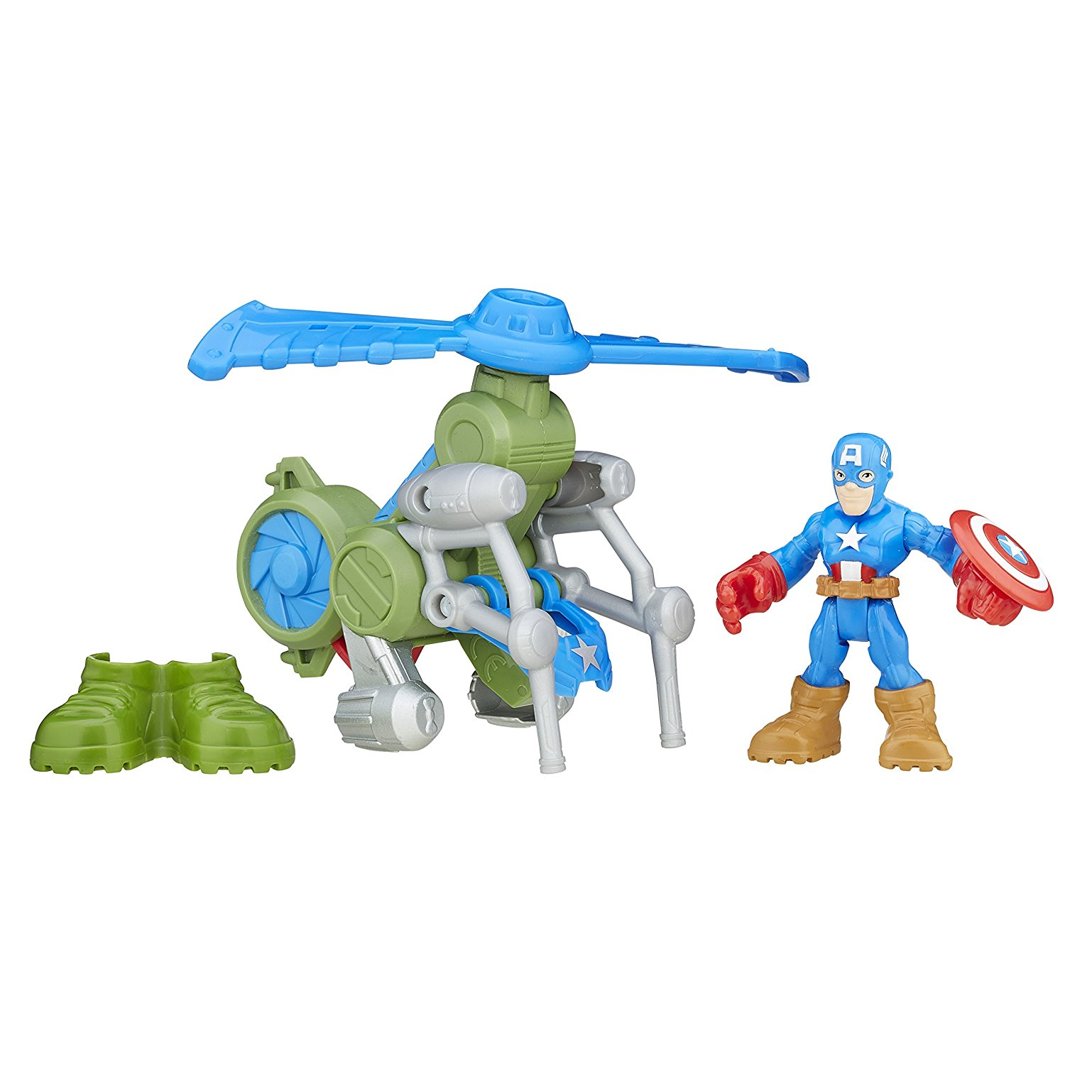 Heroes Super Hero Adventures Jungle Copter Captain America, Spinning rotor By Playskool by