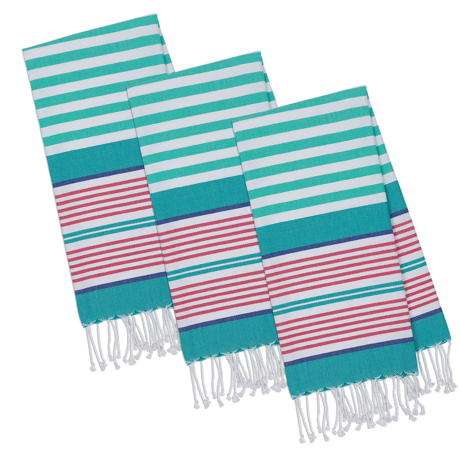 Design Imports Beachy Aqua Stripes Fouta Towel Set of Three