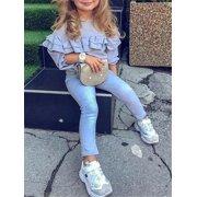 2PCS Kids Baby Girl Winter Clothes Ruffle Tops Long Sleeve T-Shirt+Denim Pants Outfit Set