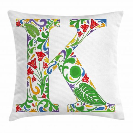 Letter K Throw Pillow Cushion Cover  Vivid Color Scheme Natural Inspirations Flowers Leaves Stalks Uppercase K Alphabet  Decorative Square Accent Pillow Case  24 X 24 Inches  Multicolor  By Ambesonne