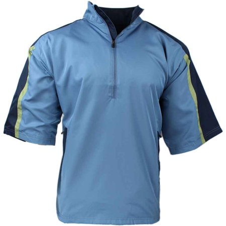Mens Short Sleeve Windshirt - Page & Tuttle Mens Short Sleeve Colorblock Windshirt Golf Casual Outerwear Windbreaker - Blue L