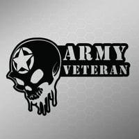 Army Veteran Skull Vinyl Decal Sticker | Cars Trucks Vans Walls Laptops Cups | White | 5.5 X 3.5 Inch | KCD1705