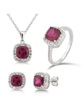 Diamond Accent, Created Opal & White Sapphire Sterling Silver 3 Piece Jewelry Set