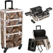 Sunrise I3661LPBR Leopard Trolley Makeup Case - I3661