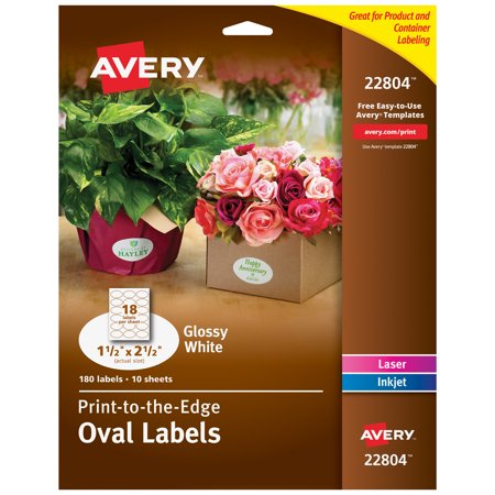 """Avery Oval Labels, Sure Feed, 1.5"""" x 2.5"""", 180 Glossy Labels (22804)"""