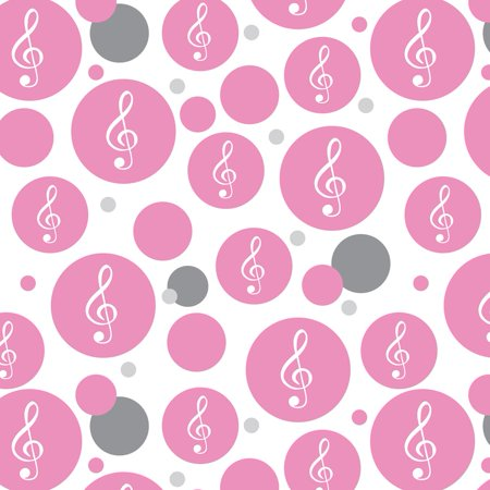 Treble Clef Music Musical Note Sound White on Pink Premium Gift Wrap Wrapping Paper Roll Pattern