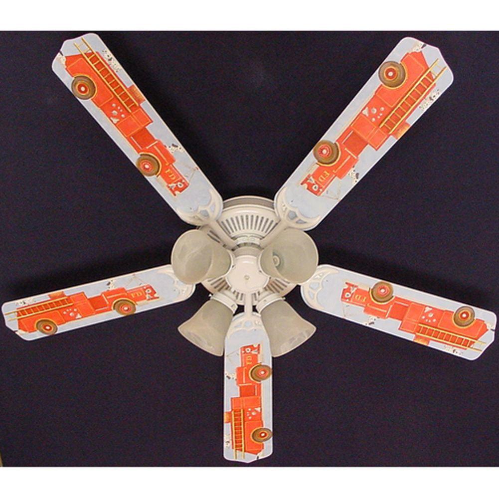 Ceiling Fan Designers Fire truck Dalmatian Print Blades 5...