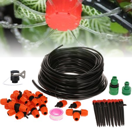 DIY Irrigation Kit Stake Dripper & Sprinkler Plant Self-Watering System 360° Adjustable Water Flow Blank Distribution Tubing for Misting Cooling Pot Plants Greenhouse Patio Lawn Flower