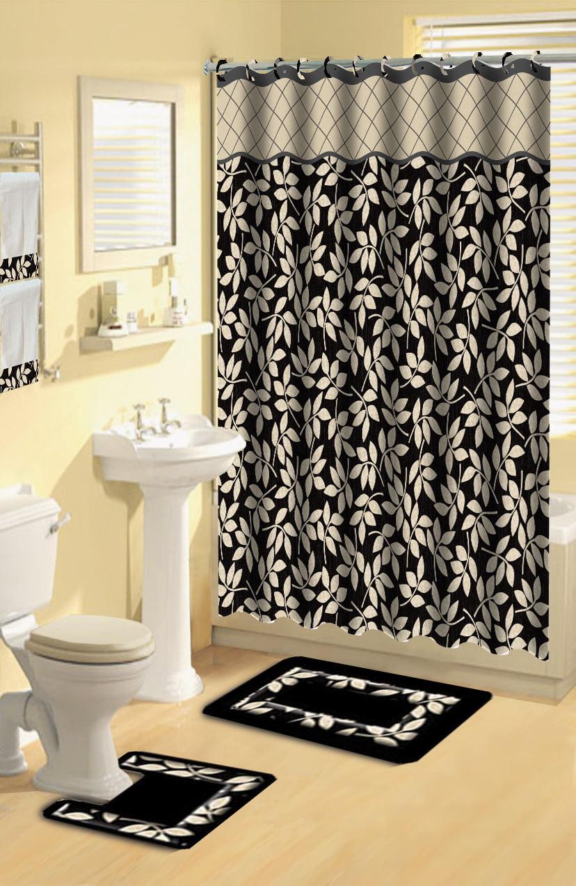 Home Dynamix Boutique Deluxe Shower Curtain And Bath Rug Set Bou 12 Leaves Black 17 Piece Bath Set Walmart Com Walmart Com