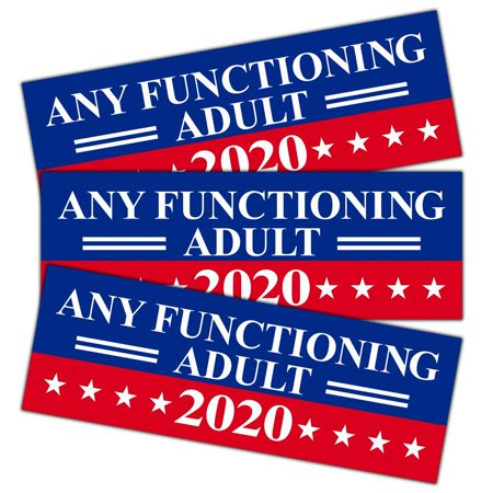 - 9 X 3 inch Any Functioning Adult 2020 Decal - Car and Truck Reflective Bumper Stickers - 2020 United States Presidential Election (3 Pack)