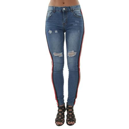 Classic Premium Denim, Ripped, Side Stripes, Mid Waist, Skinny Jeans