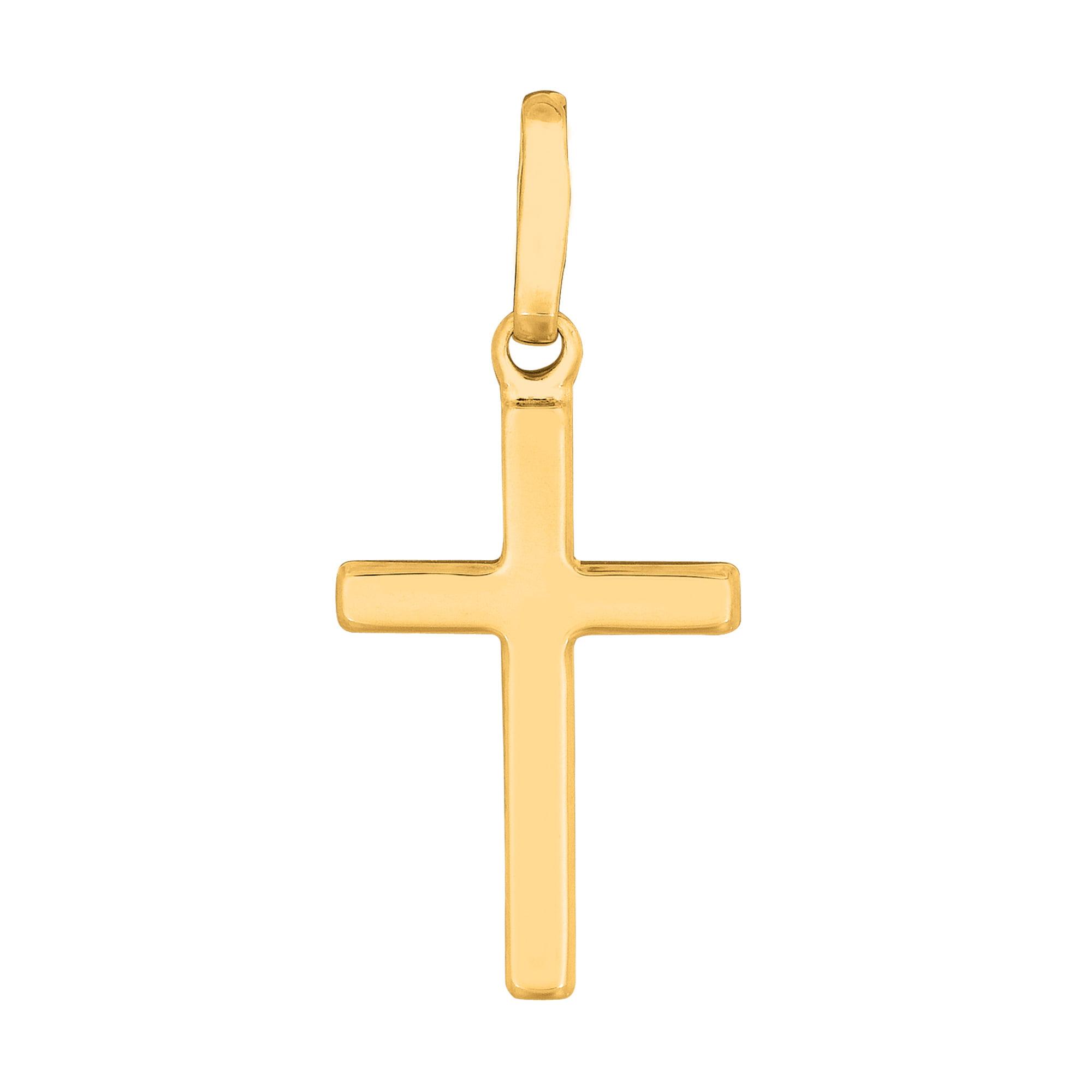 JewelryAffairs 14k Yellow Gold Shiny Square Flat Style Cross Pendant by JewelryAffairs