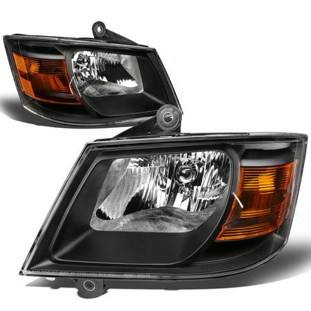 Dodge Caravan Headlight Lamp - For 08-10 Dodge Grand Caravan Headlight Black Housing Amber Corner Headlamp 3.3L-4.0L 09 Left+Right