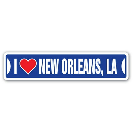 I LOVE NEW ORLEANS, LOUISIANA Street Sign la city state us wall road décor gift