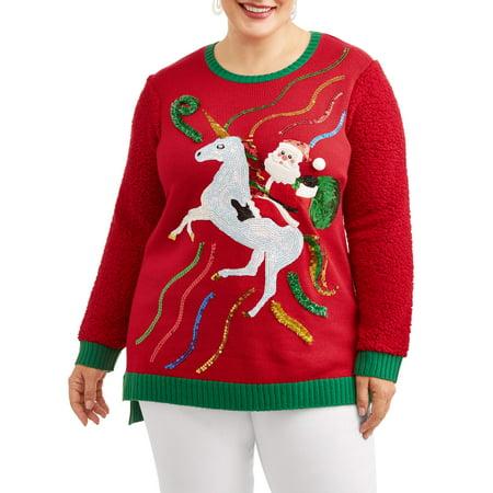 a70975db2b5 Holiday Time - Holiday Time Women s Plus Santa Riding Unicorn Christmas  Sweater - Walmart.com